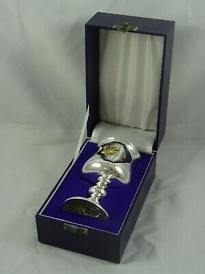 BOXED sterling silver `commemorative` WINE GOBLET, 1981, 177gm