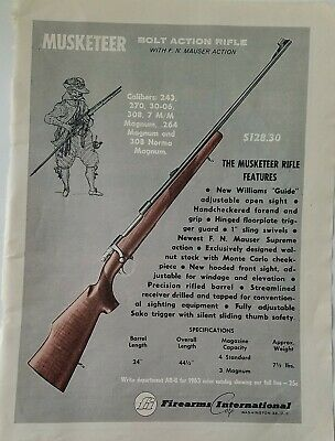 VINTAGE 1963 FIREARMS International Musketeer Bolt Action Rifle Full-Page  Ad - $6.99 | PicClick