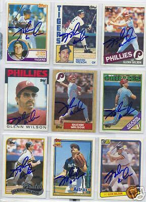 Glenn Wilson Autographed Baseball Card Collection 34+ Different Cards Signed