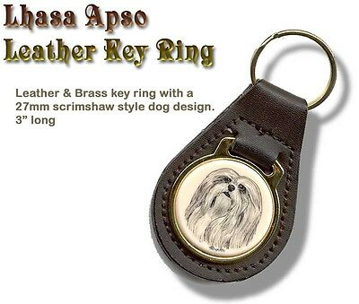 LHASA APSO  Brass and Leather Dog KEY RING