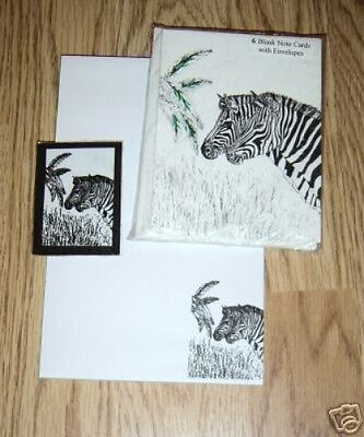 Zebra Pair 3 Pc Set-Notepad, 6 Blank Notecards and Magnet New