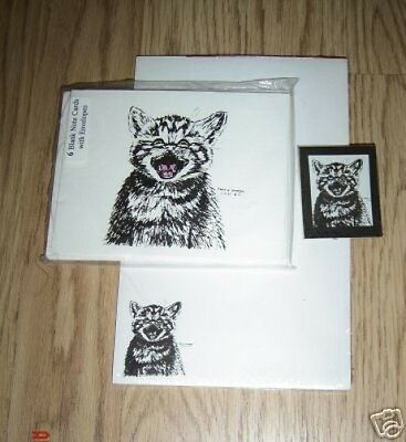 Meowing Kitten 3 Pc Set-Notepad, 6 Blank Notecards and Magnet New