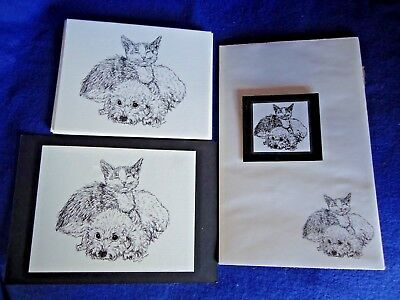 Cat and Dog Friends 3 Piece Set-Notepad, 6 Blank Notecards and Magnet - New