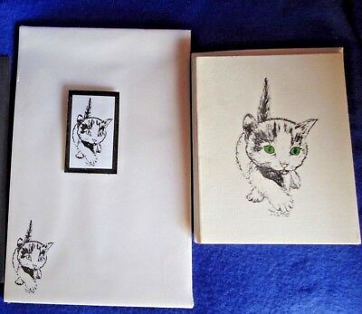 Walking Kitty Cat 3 Pc Set-Notepad, 6 Blank Notecards and Magnet New