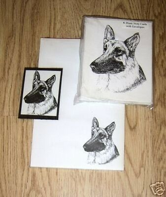 German Shepherd Dog 3 Piece Set-Notepad-6 Blank Notecards and Magnet New