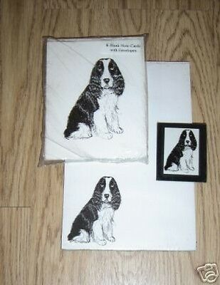 Springer Spaniel 3 Pc Set-Notepad, 6 Blank Notecards and Magnet New