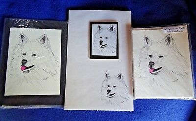 American Eskimo 3 Piece Set-Notepad, 6 Blank Notecards and Magnet-New