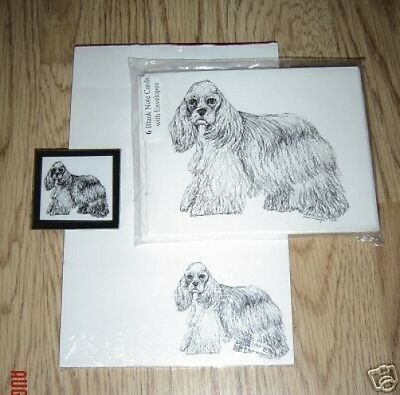 Cocker Spaniel 3 Piece Set-Notepad, 6 Blank Notecards and Magnet