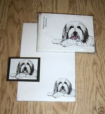 Bearded Collie 3 Piece Set-Notepad,6 Blank Notecards and Magnet