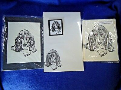 Basset Hound 3 Piece Set-Notepad, 6 Blank Notecards and Magnet