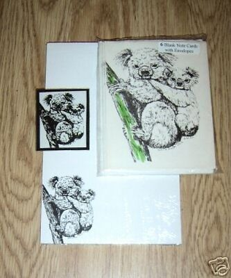 Koala and Baby 3 Pc Set-Notepad-6 Blank Notecards and Magnet New