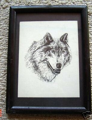 Timber Wolf Small Print on 5x7 Black Mat Ready for Framing New