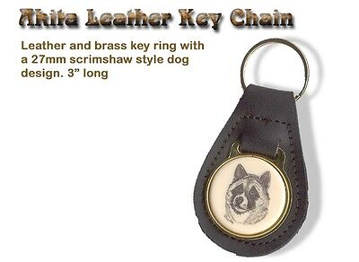 AKITA  Brass and Leather Dog KEY RING