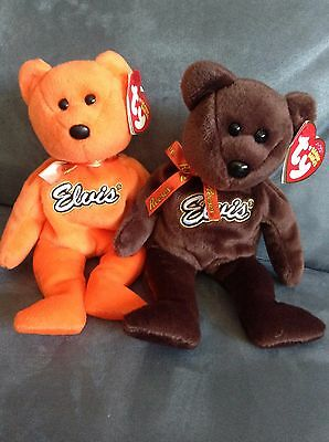 TY BEANIE BABY Elvis Reeses Bears Brown   Orange With Tags (Rare Set ... b4b035743a1