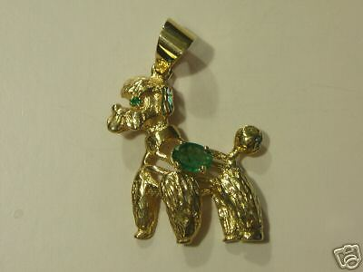 Poodle Pendant Emerald 14 Kt  Yellow Gold  New
