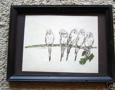 Parakeets Small Print in 5 x 7 Ready for Framing