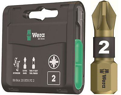 20 x WERA Bi-Torsion PZ2 Pozi 2 Gold Extra Hard Screwdriver Screw Bits, 347800