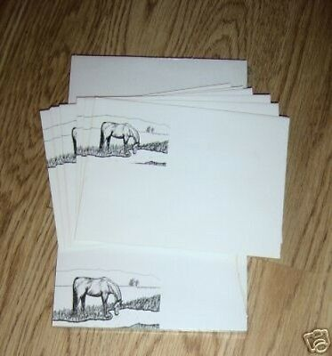 Horse Drinking 2 Pc Set-Notepad and 10 Printed Envelopes New