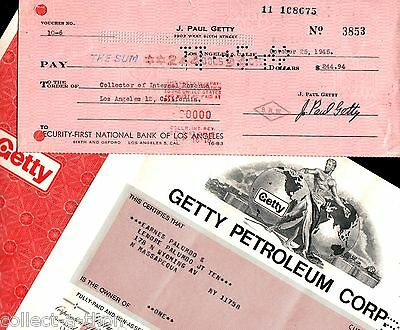 Jp Getty Pays His 1945 Taxes! Rare Original Wet Ink Autograph + Getty Oil Stock