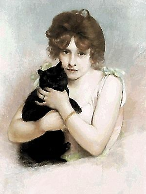 Ballerina Holding Black Cat~counted cross stitch pattern #1822~Vintage Cat Chart