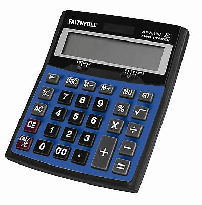 FAITHFULL Large Desk Top 12 Digit Solar Battery Office Home Calculator,FAIDETCAL