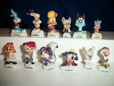 TINY TOONS Set of 12 Miniature Figures Mini French Porcelain FEVES Figurines