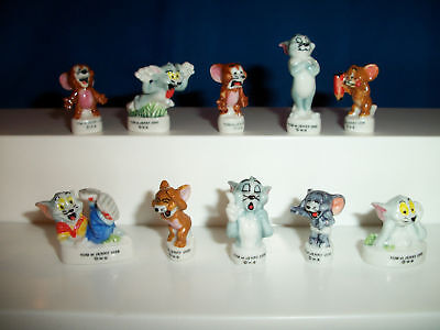 TOM & JERRY Set of 10 Minature French Porcelain FEVES Figures Series 2 Figurines