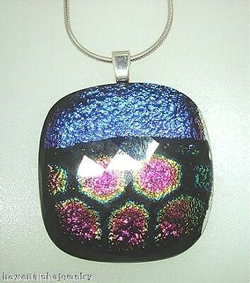 28.5mm Lampwork Sterling Silver Fused Dichroic Faceted Glass Pendant