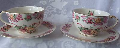 Somerton Green-Shabby Chic Grace-4Pce Cup&saucers-41623