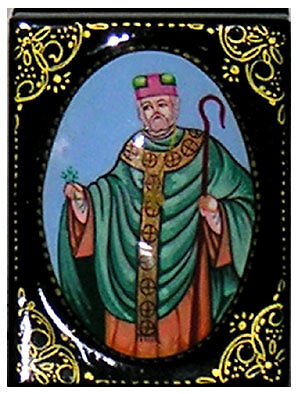 Russian hand painted St Patrick  box