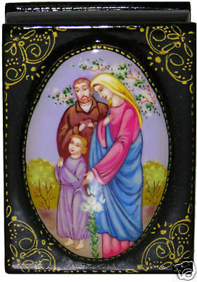 Russian hand painted Holy Family  box