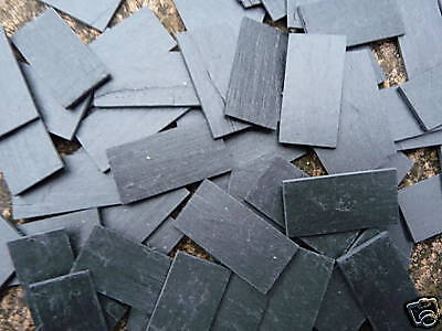 50 Small Scale REAL SLATE Miniature Roof Tiles