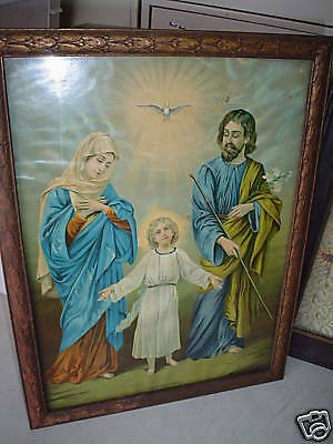 Vintage 1800s Print The Holy Family Jesus Framed LOOK