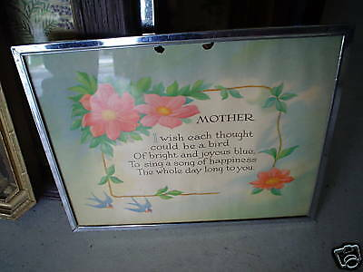 Small Vintage Motto Print Mother w Flowers Framed LOOK
