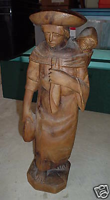 BIG Vintage Hand Carved Wood Woman and Baby Statue LOOK