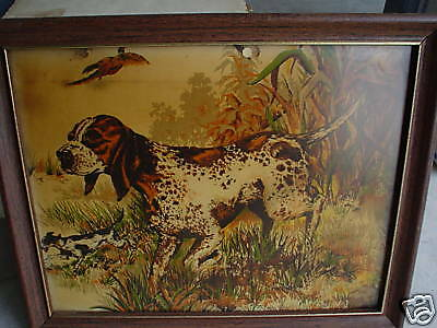 Vintage Print on Cloth of Pointer Dog LOOK