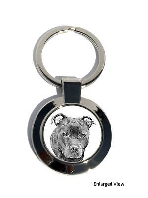 Staffordshire Bull Terrier Dog Round Chrome Plated Keyring
