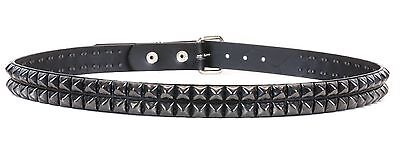 Metal,Thrash Studded Double Row Gold Stud Leather Belt Punk Rock UK Style