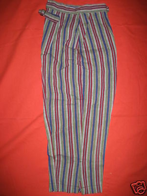 Nos Vintage 1960s JEANIES BLUE BELL High Waisted Stripe Clam Digger Flood Pants