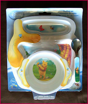 New DISNEY WINNIE POOH 3 pc Baby Feeding Dinner Set MOULDED PLATE + BOWL + SPOON