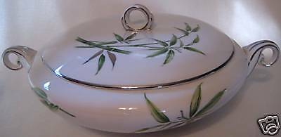 Sone China Round Covered Vegetable Bowl Bamboo Silver