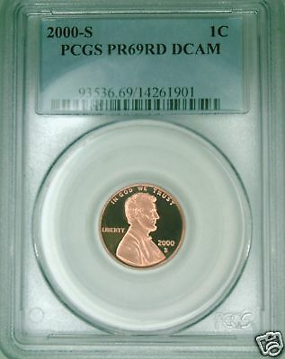 2000-S PCGS PR69DCAM proof Lincoln cent deep cameo red