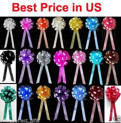 "10 pcs 8"" WEDDING PULL PEW BOWS BRIDAL SHOWER DECORATION CHAIR TABLE CENTERPIECE"