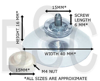 Packet of 4 x (40mm Threaded Screw Suction Cup with Separate Nut) FREE UK P&P