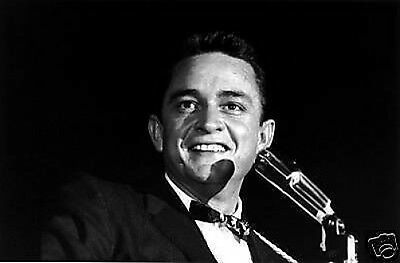 Johnny Cash Great New BW 10x8 Photo on Stage