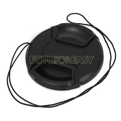 72mm Center Pinch Snap on Front Cap Hood Cover for Lens / Filters with Leash 72