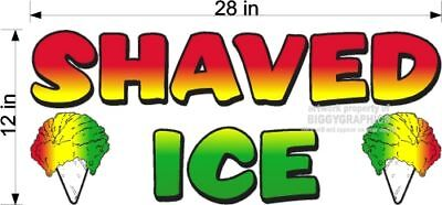 Large Shaved Ice Snow Cone Vinyl Decal Concession Ad