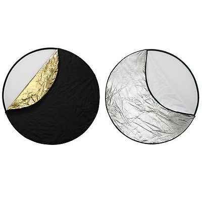 """24"""" 5-in-1 Photo Studio Light Mulit Collapsible Disc Board Reflector 60cm"""