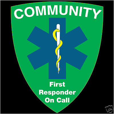 Community First Responder On Call.  Window sticker, (Green Shield Design).