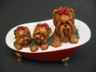 CLEARANCE $!! Treasured Tails Yorkie Family Bath Time